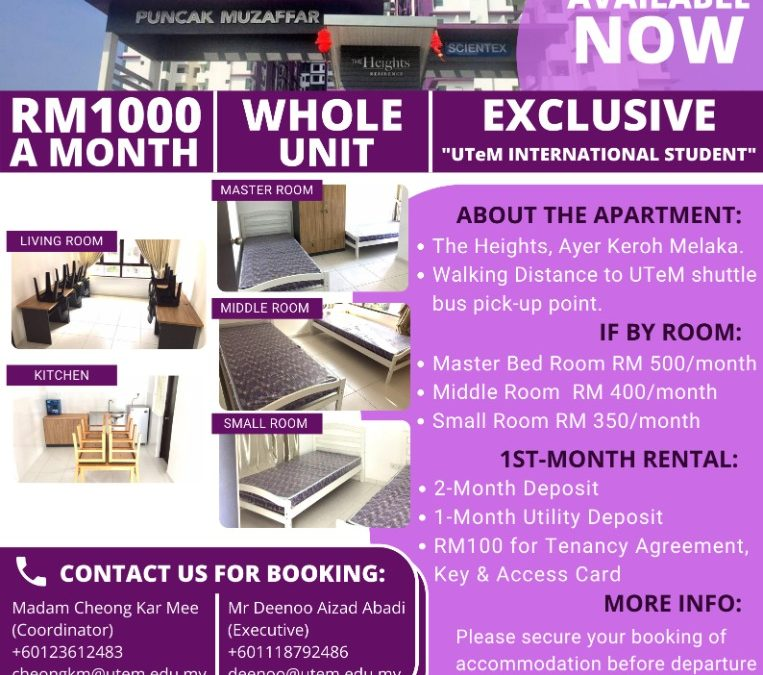 Apartments reserved for UTeM International students