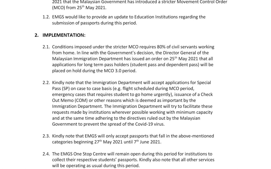PASSPORT SUBMISSION TO EMGS DURING MCO 3.0